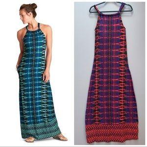 ATHLETA Santana maxi dress, red and purple, XS.